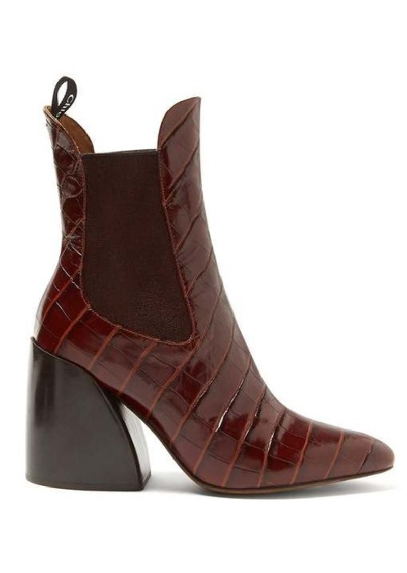 Chloé Crocodile-effect leather chelsea boots