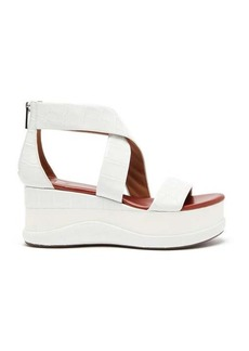 Chloé Crocodile-effect leather flatform sandals