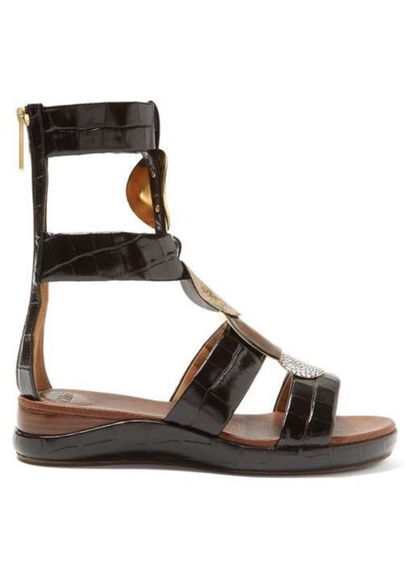 Chloé Crocodile-effect leather gladiator sandals