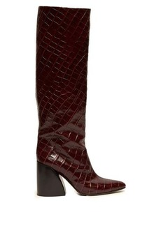 Chloé Crocodile-effect leather knee-high boots