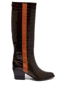 Chloé Crocodile-effect leather knee-high boots