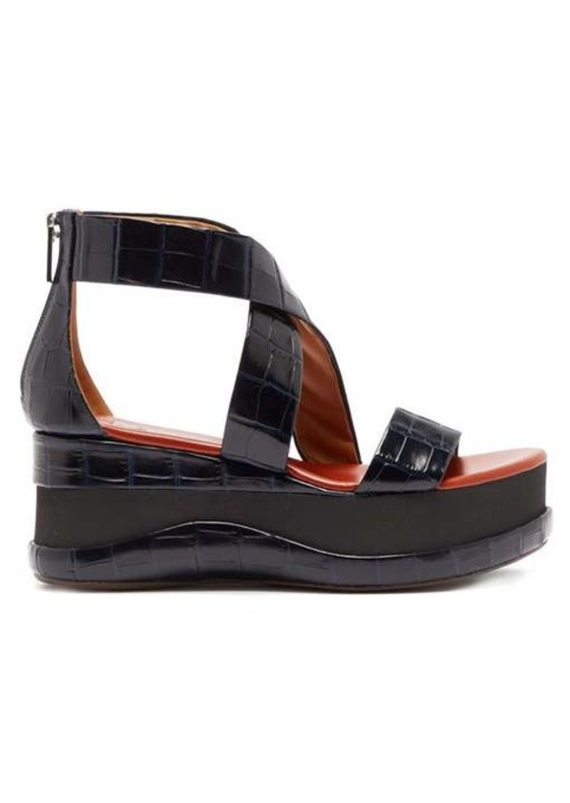 Chloé Crocodile-embossed leather flatform sandals