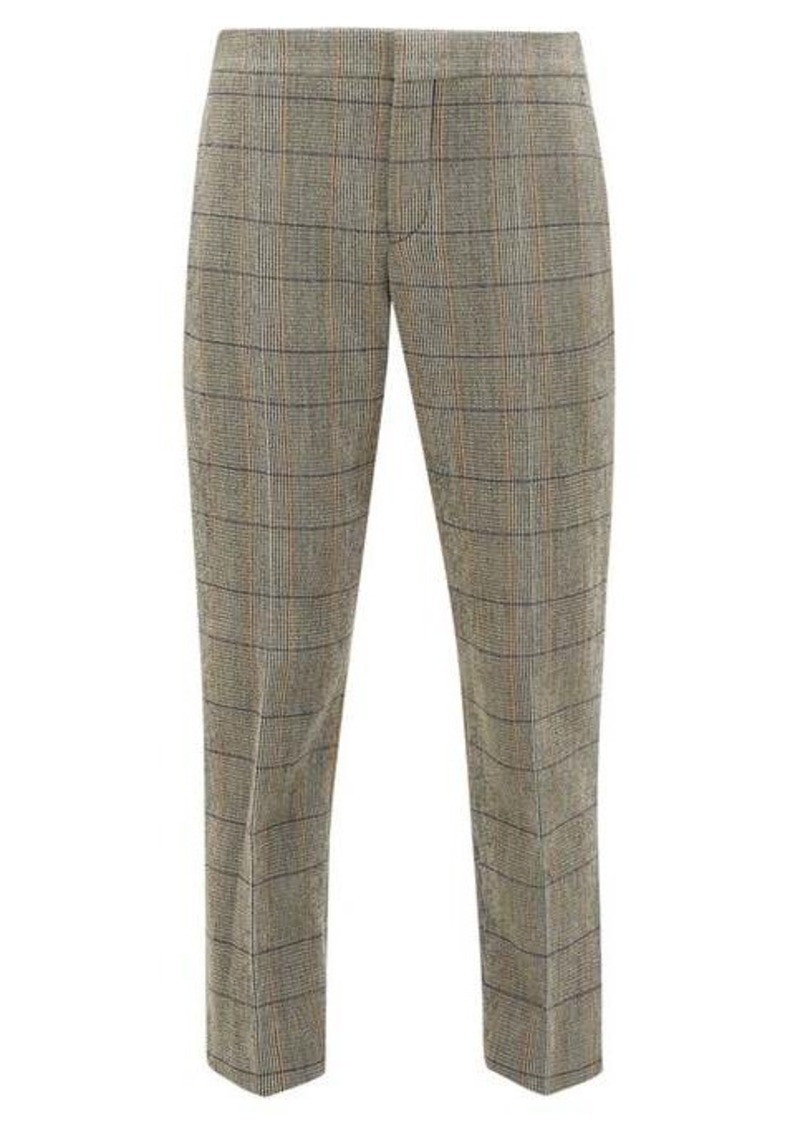 Chloé Cropped checked wool-blend trousers