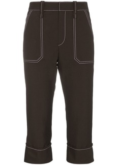 Chloé cropped stitched virgin wool blend trousers