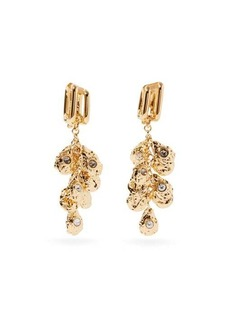 Chloé Crystal and hammered-charm clip earrings