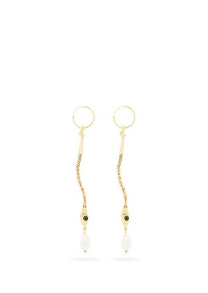 Chloé Crystal-embellished snake drop earrings
