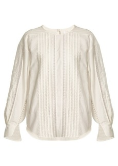 Chloé Diamond-lace trimmed cotton top
