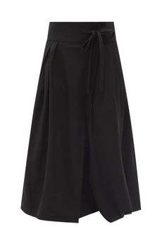 Chloé Draped tie-waist wool-twill skirt