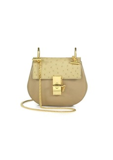Chloé Drew Mini Ostrich & Leather Saddle Crossbody Bag