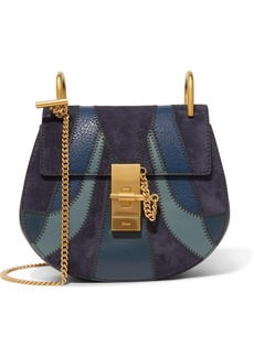 Chloé Drew mini patchwork leather and suede shoulder bag
