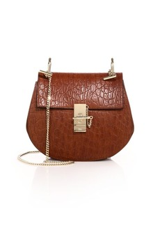 Chloé Drew Small Crocodile-Embossed Leather & Suede Saddle Crossbody Bag