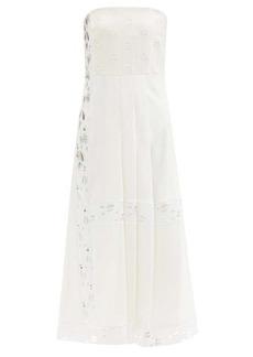 Chloé Elie strapless broderie-anglaise crepe dress