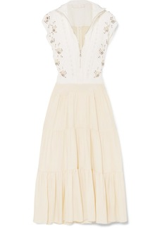 Chloé Embellished Broderie Anglaise Linen And Cady Midi Dress