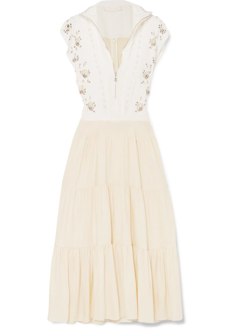 6c490a98bafe1 Chloé Embellished Broderie Anglaise Linen And Cady Midi Dress