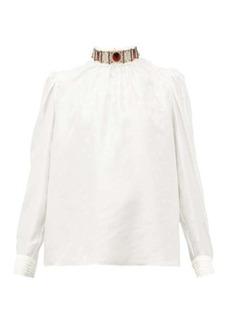 Chloé Embellished high-neck logo-jacquard silk blouse