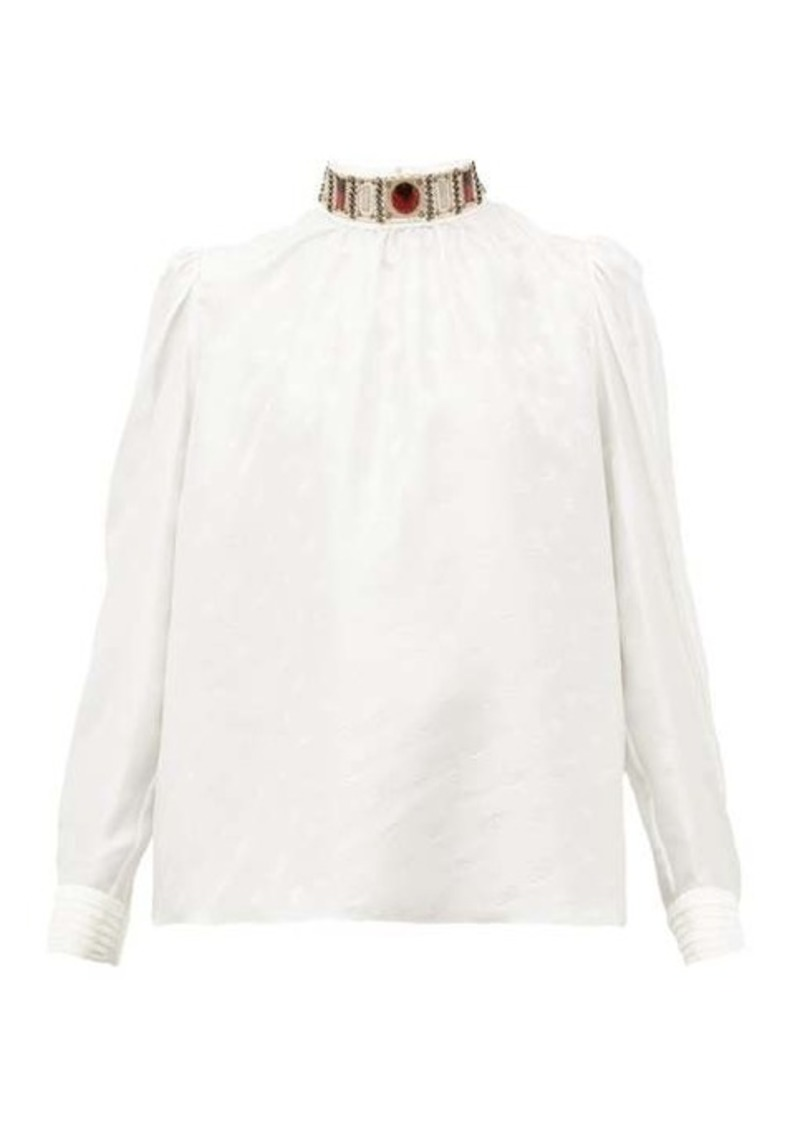 Chloé Embellished high-neck logo-jacquard silk blouse