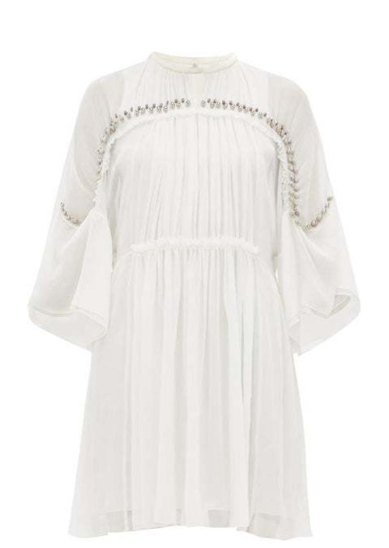 Chloé Embellished plissé silk chiffon mini dress