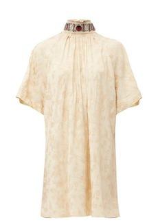 Chloé Embellished tie-back floral-jacquard dress