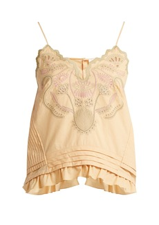 Chloé Embroidered cotton voile camisole top