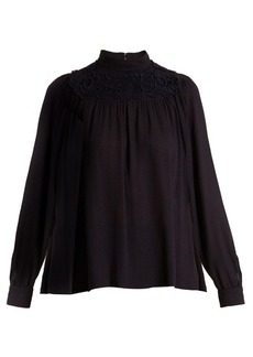 Chloé Embroidered crepe blouse