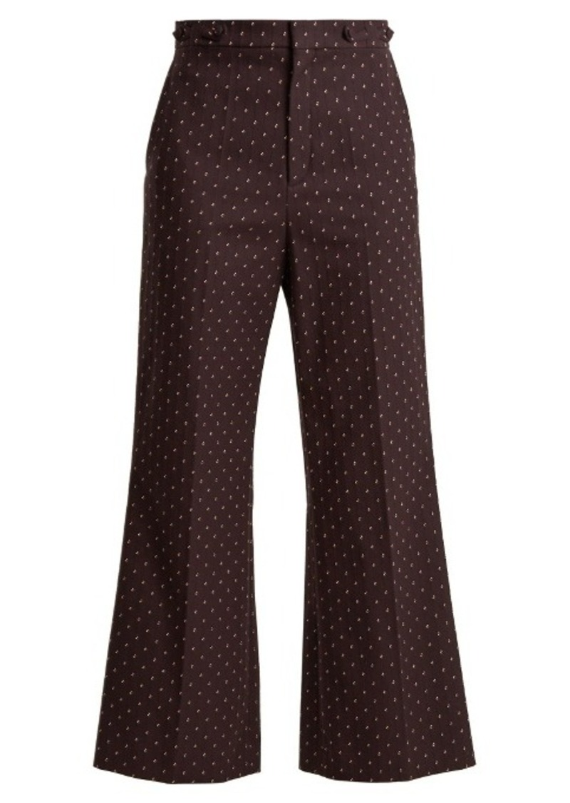 Chloé Embroidered-dot cotton trousers