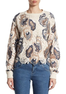 See by Chloé Embroidered Lace Cotton Pullover