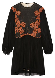 Chloé Embroidered linen and silk-chiffon mini dress