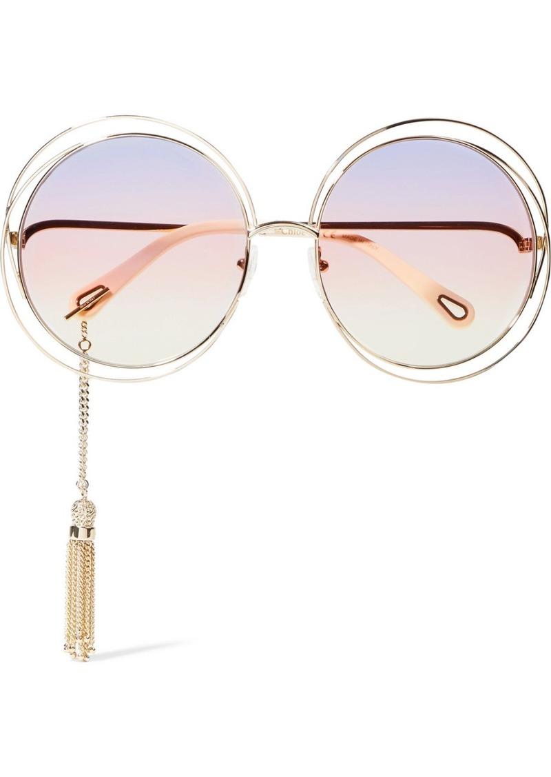 b2688636c1a Chloé Chloé Carlina round-frame gold-tone sunglasses