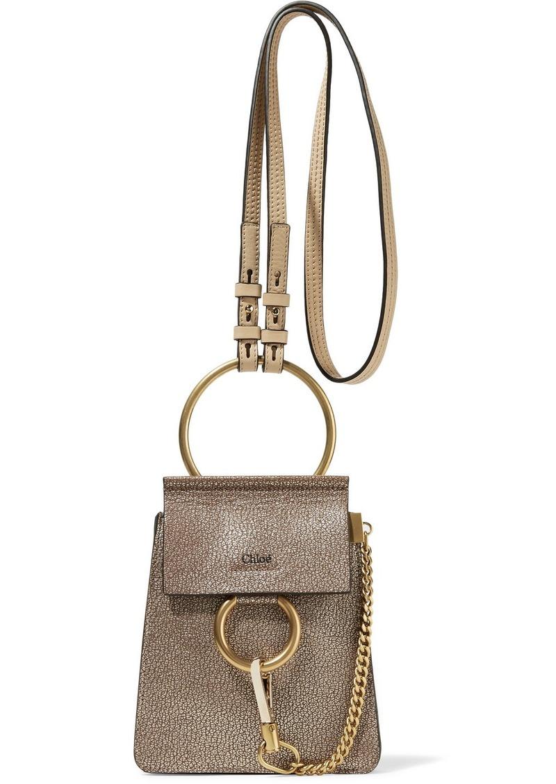 ee22a7efc Chloé Chloé Faye Bracelet mini metallic cracked-leather shoulder bag ...