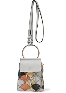 Chloé Faye Bracelet mini studded patchwork leather and suede shoulder bag