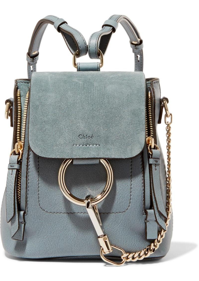 3b40a303ffa1 Chloé Chloé Faye mini leather and suede backpack