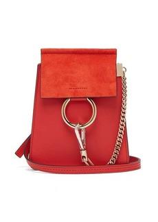 Chloé Faye mini suede-panel leather cross-body bag
