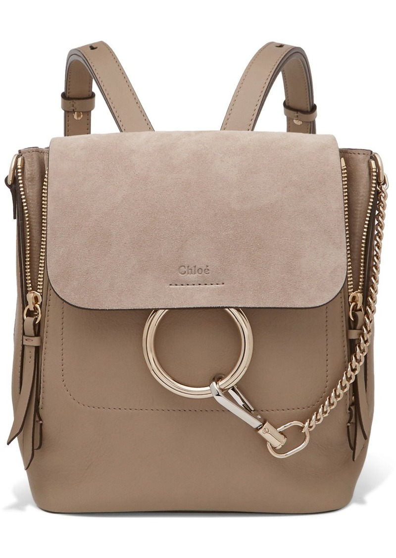 Chloé Faye small textured-leather and suede backpack  cbc2b8d64c