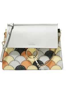 Chloé Faye studded medium patchwork leather and suede shoulder bag