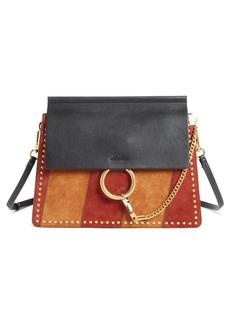 Chloé Faye Studded Suede & Leather Shoulder Bag