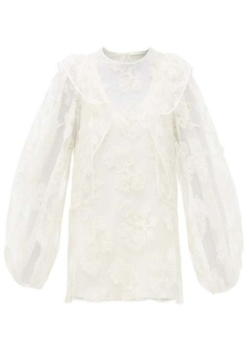 Chloé Festive floral-embroidered tulle blouse