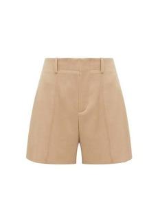 Chloé Festive pintucked wool-blend twill shorts