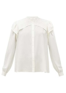 Chloé Festive pleated-panel silk-georgette blouse