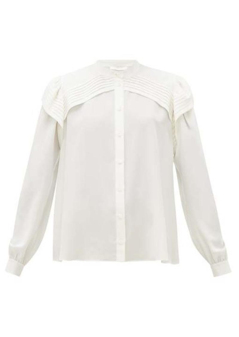 Chloé Festive pleated-panel silk-georgette blouse