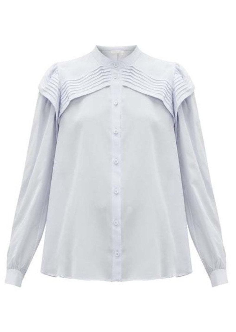 Chloé Festive pleated silk-crepe blouse