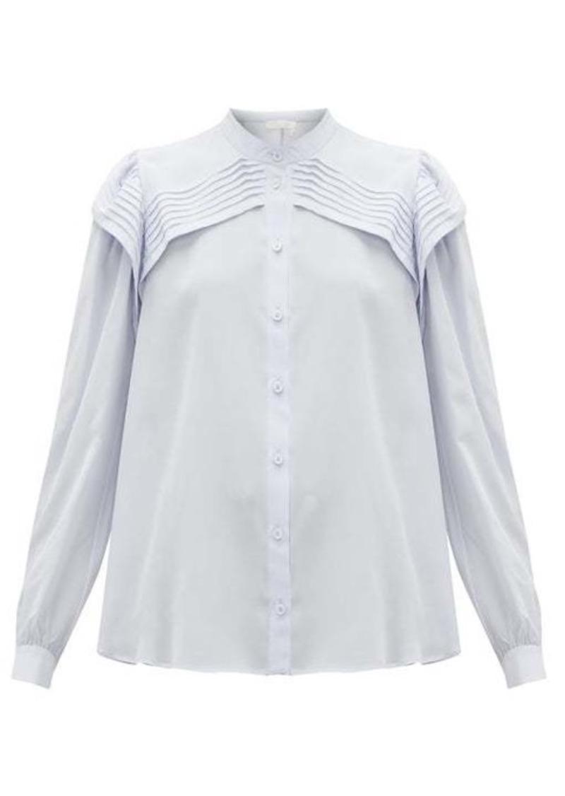 Chloé Festive pleated silk-crepe blouse