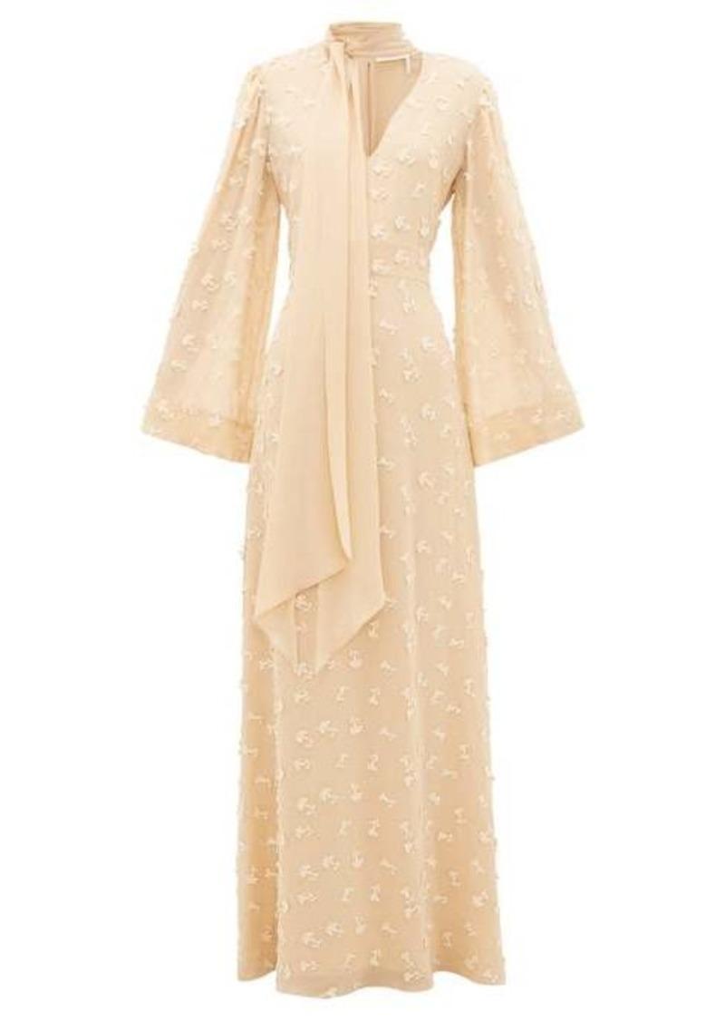 Chloé Floral appliqué silk-georgette dress