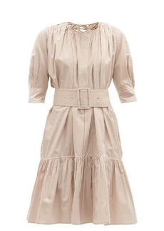 Chloé Floral-embroidered gathered cotton-poplin dress
