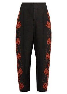 Chloé Floral-embroidered high-rise linen trousers