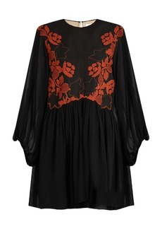 Chloé Floral-embroidered linen and silk dress