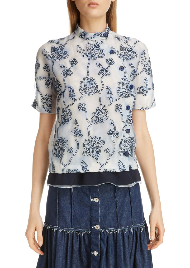 Chloé Floral Embroidered Silk Blouse