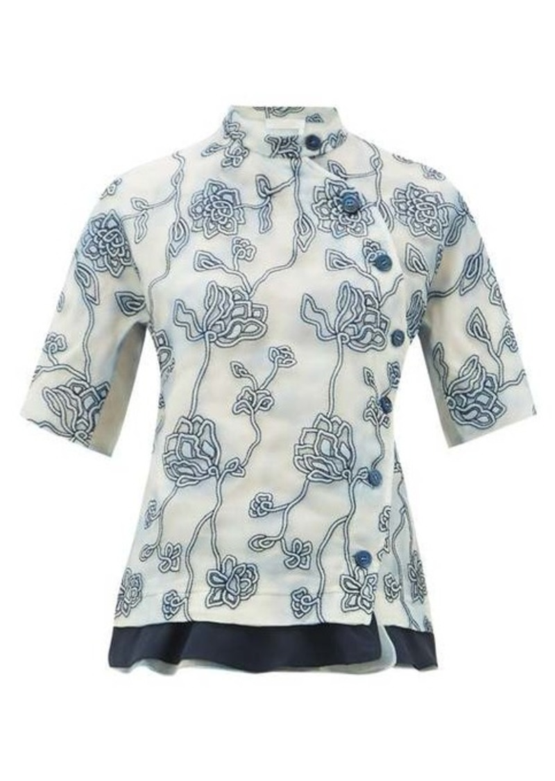 Chloé Floral-embroidered silk organza blouse