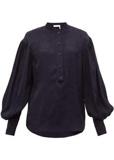 Chloé Floral-jacquard balloon-sleeve satin blouse