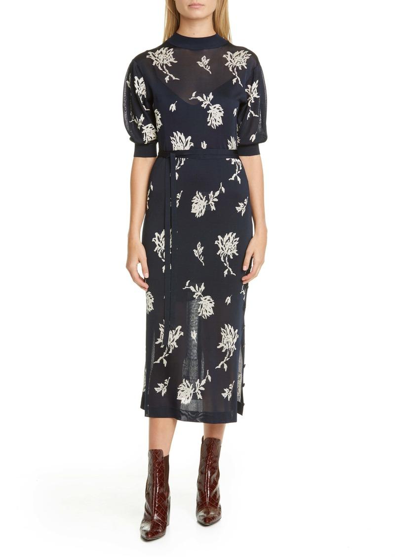 Chloé Floral Jacquard Midi Sweater Dress