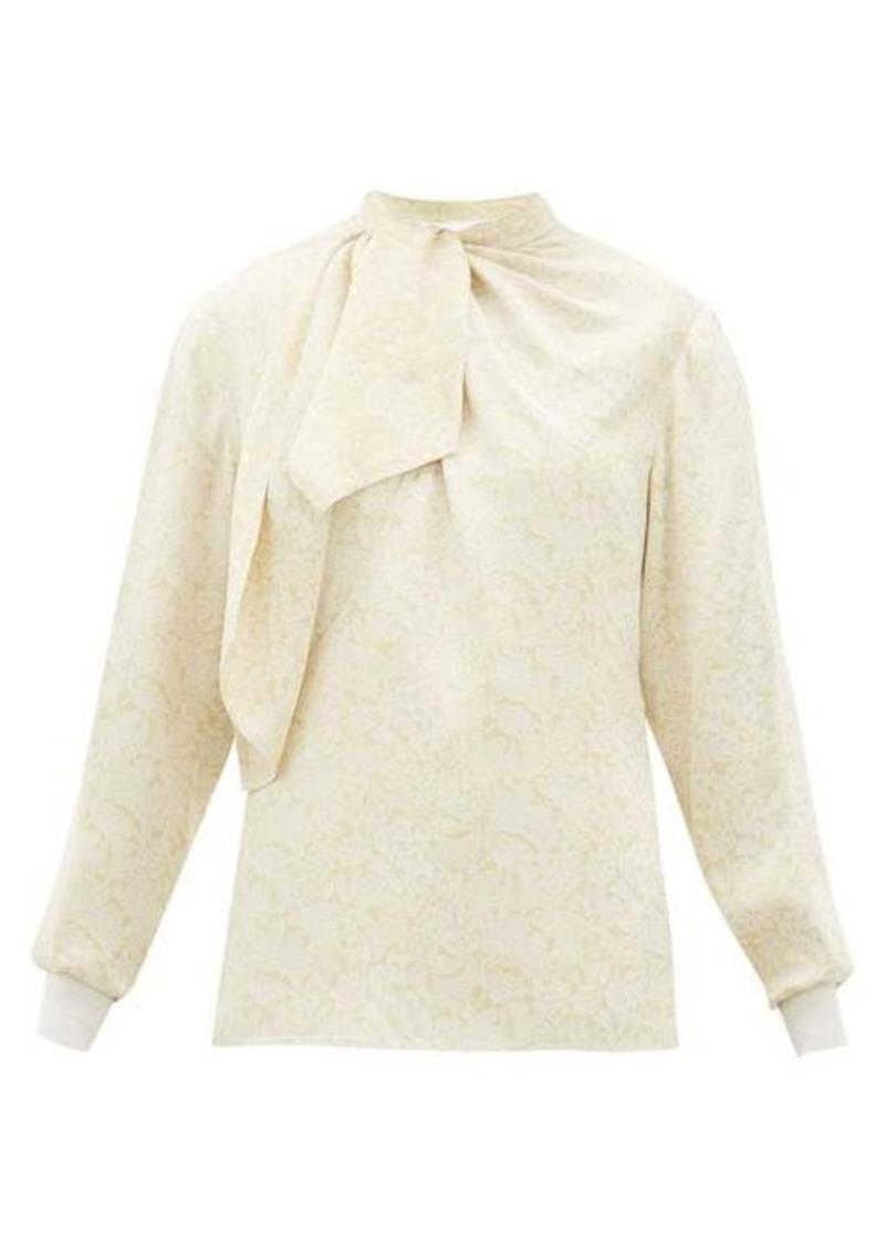 Chloé Floral-jacquard tie-neck blouse